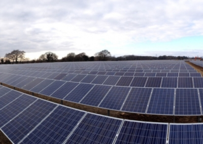 POWER The solar farm completed at Lovedean in April this year. Picture: Peter Browning