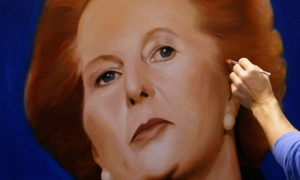 Artist Lambert paints Britain's former Prime Minister Thatcher at his studio in Brighton