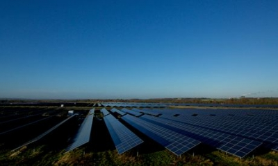 Lark Energy's Wymeswold airfield, until recently the largest solar farm in UK. Photograph: Christopher Thomond for The Guardian
