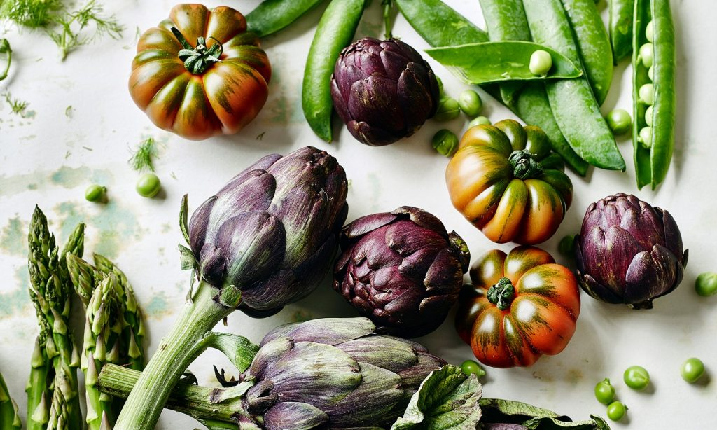 Vegetables: nutritious, and much more environmentally friendly than meat. Photograph: Martin Poole for Observer Food Monthly
